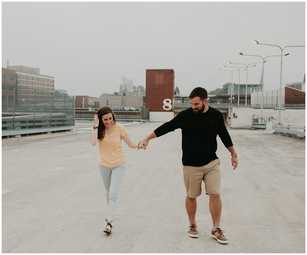 Summer sunrise Parking Garage Rooftop Engagement Session in Lancaster Pennsylvania_0133.jpg