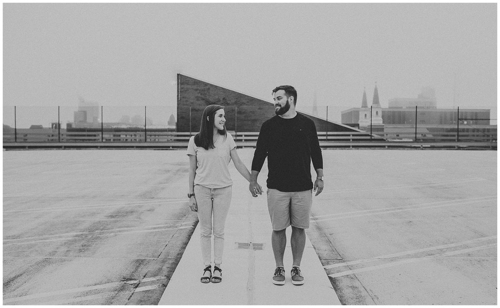 Summer sunrise Parking Garage Rooftop Engagement Session in Lancaster Pennsylvania_0140.jpg
