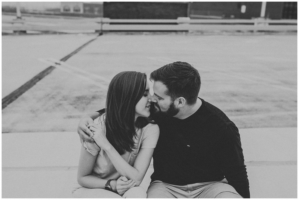 Summer sunrise Parking Garage Rooftop Engagement Session in Lancaster Pennsylvania_0142.jpg