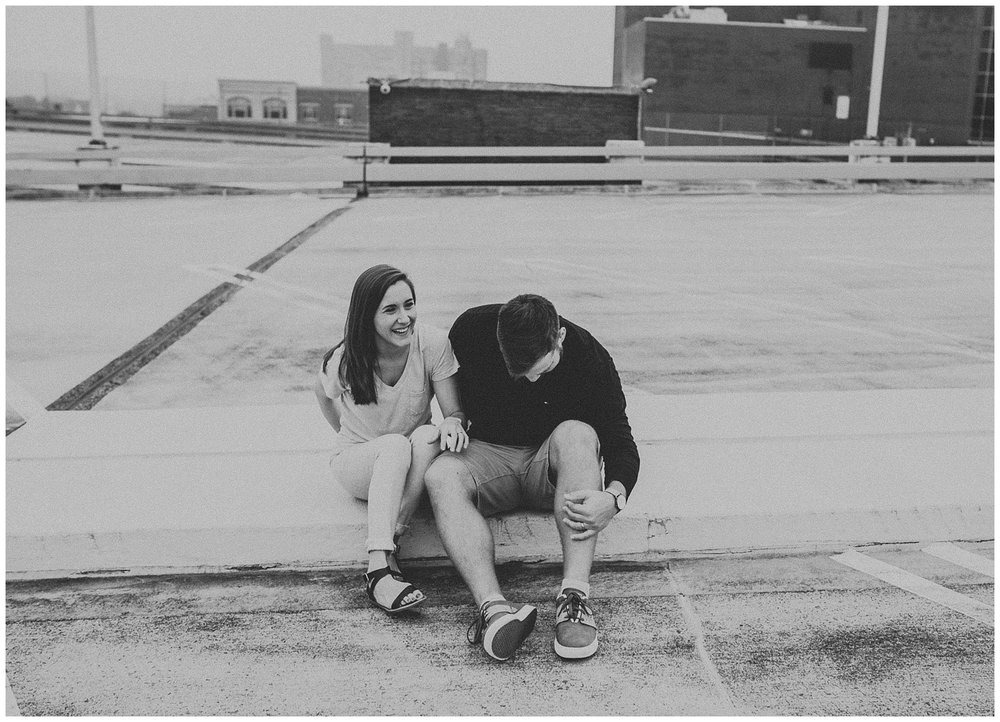 Summer sunrise Parking Garage Rooftop Engagement Session in Lancaster Pennsylvania_0146.jpg