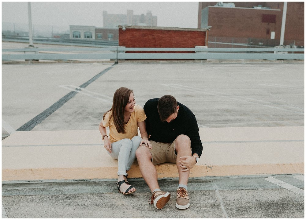 Summer sunrise Parking Garage Rooftop Engagement Session in Lancaster Pennsylvania_0147.jpg