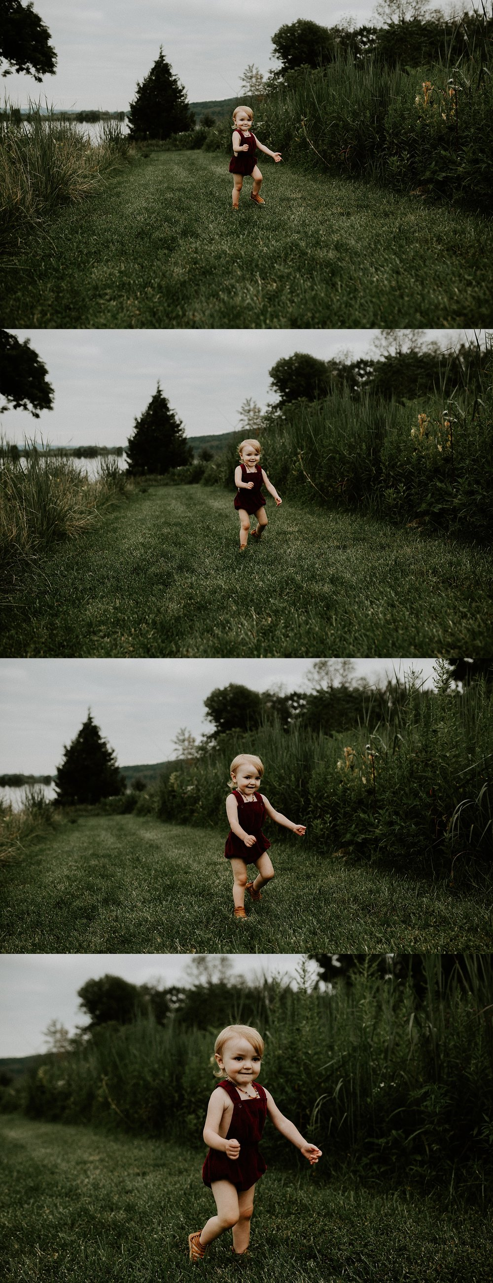 little girl running through fields