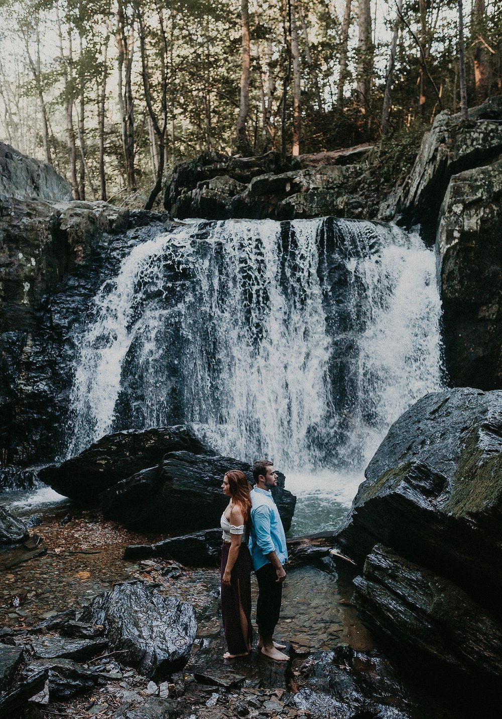 Summer Evening Boho Couples Session at Kilgore Falls Waterfalls in Pylesville Maryland_0057.jpg