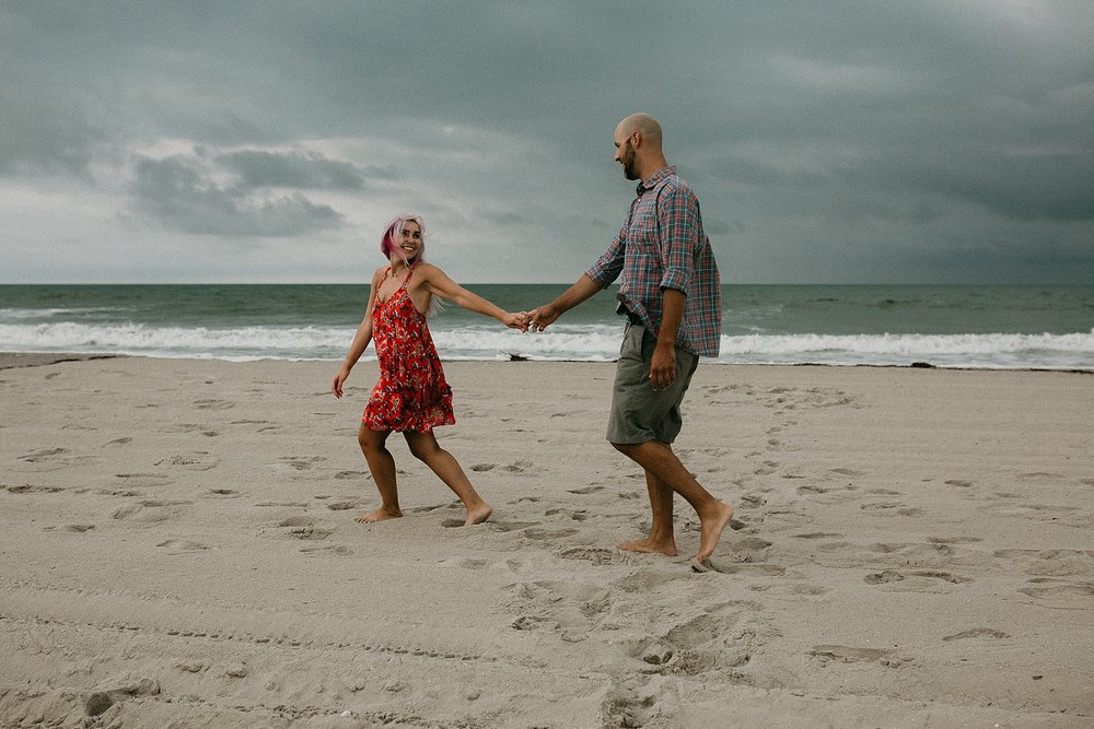Engagement photos at Stone Harbor beach