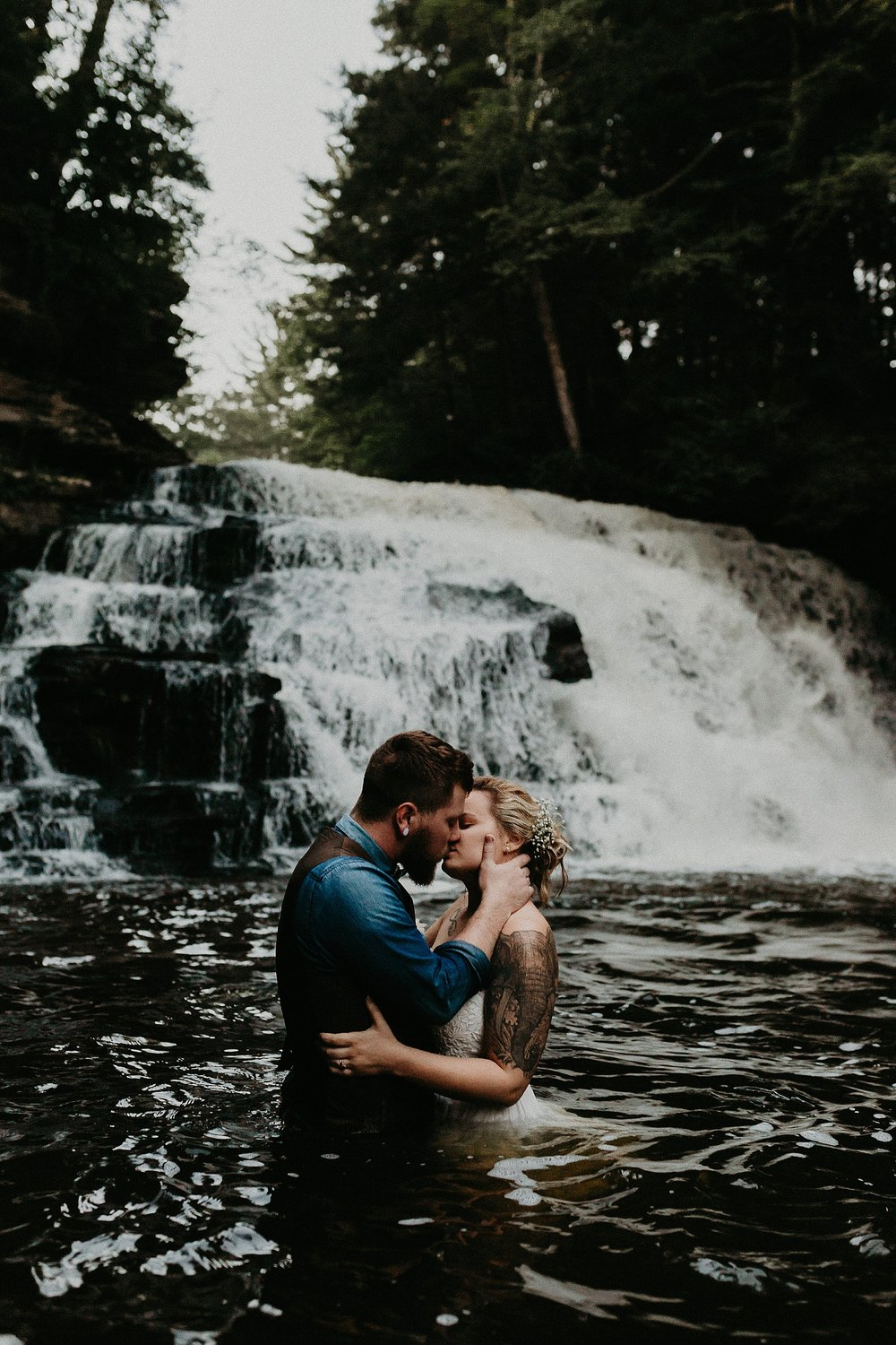 Mid Summer Adventerous Wedding with Waterfalls and Swimming in Pocono, Pennsylvania_0280.jpg