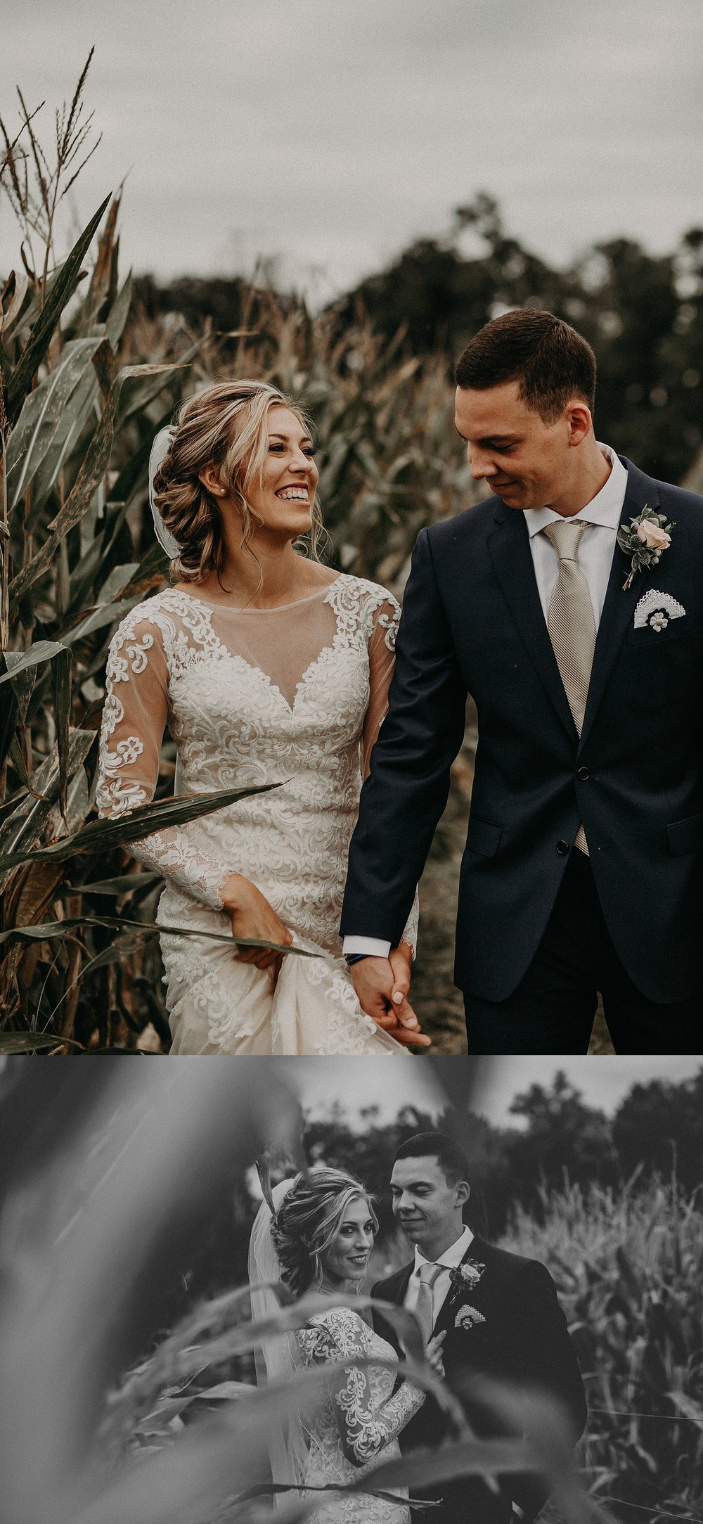 Bride and Groom laughing and walking through corn field on wedding day in Lancaster, PA