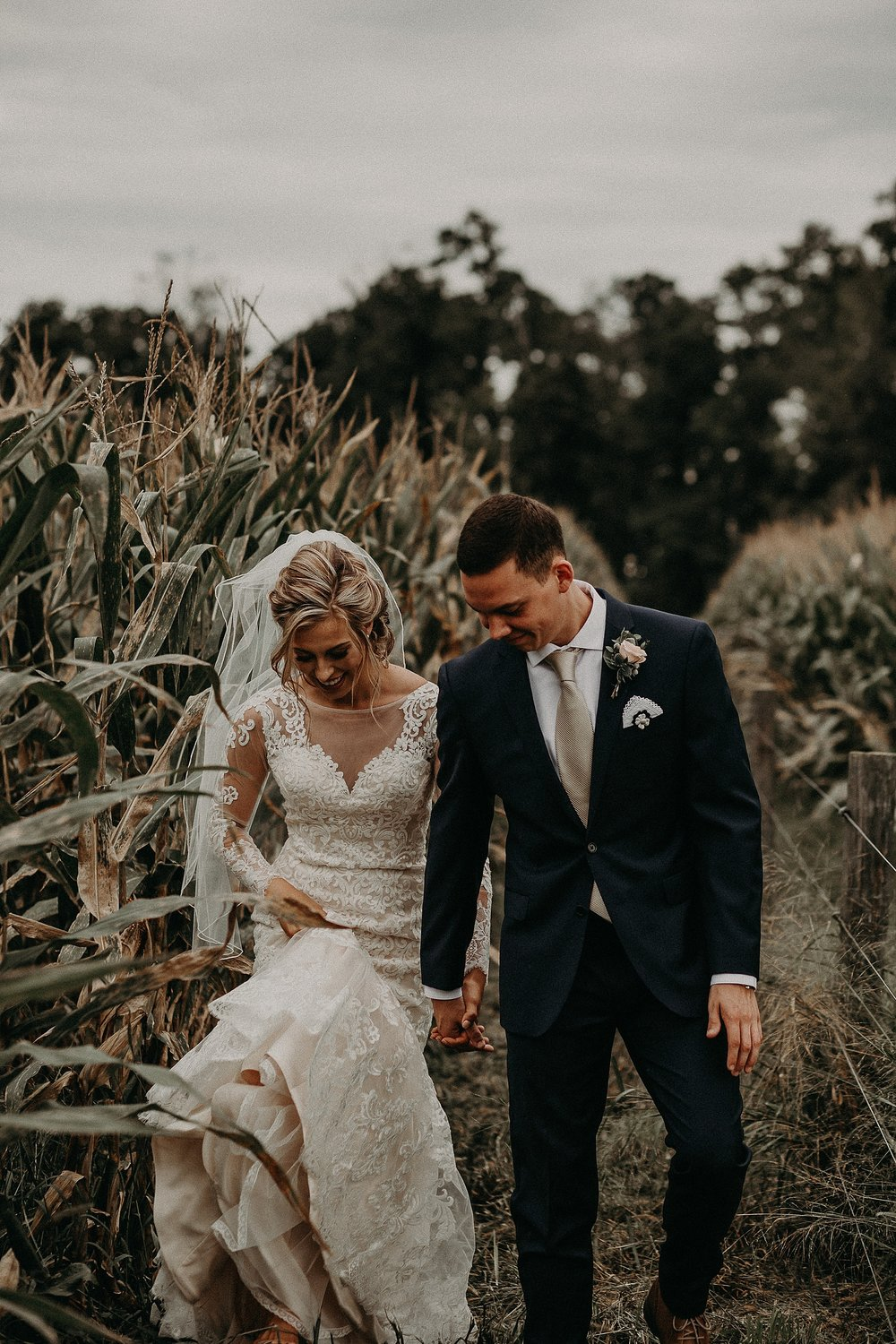 Outdoor Fall Bride and Groom portraits on Private Farm in Lancaster, PA