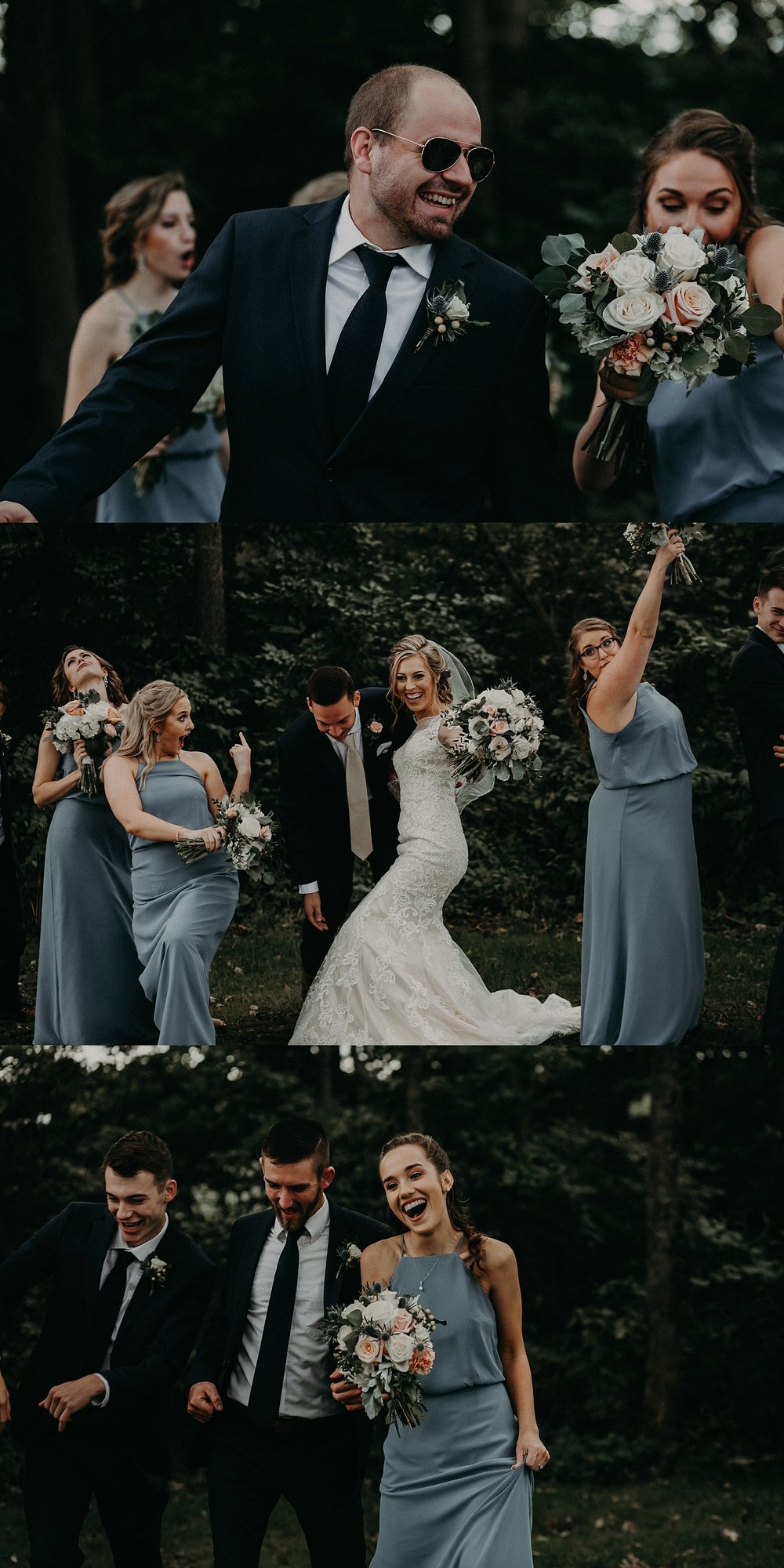 Dancing and energetic wedding party during photo on wedding day in Lancaster, PA