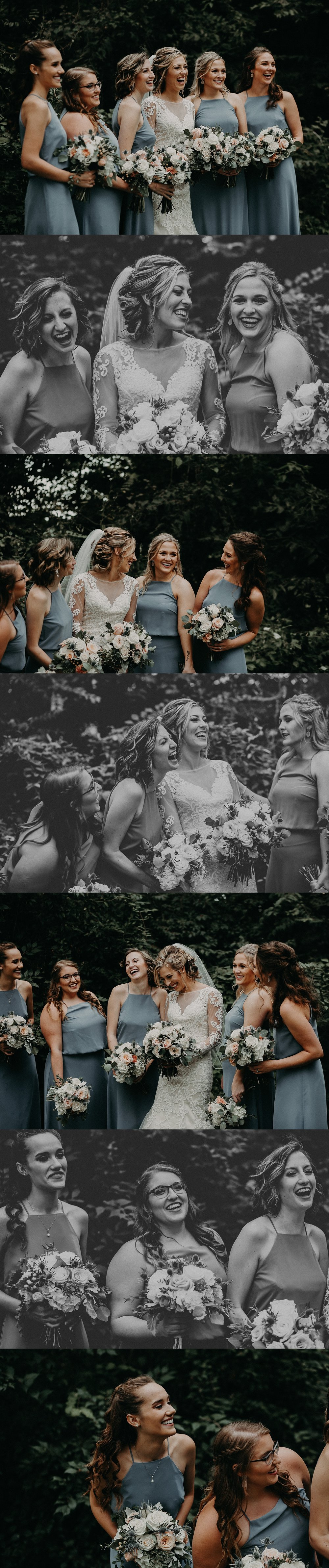 Joyful Bridal Party making jokes and laughing on wedding day in Lancaster, PA