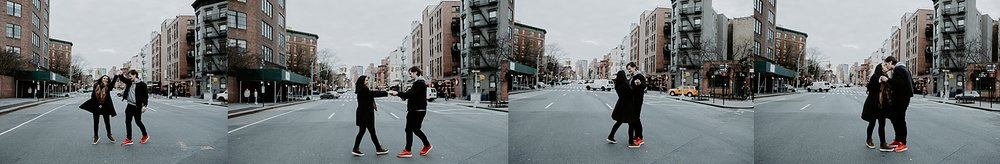 Couple dancing in the middle of New York City streets during engagement session in Greenwich Village, New York