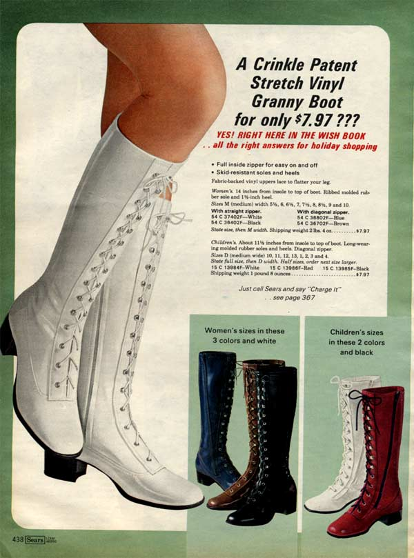 Because nothing says groovy like a pair of crinkle patent stretch vinyl granny boots.