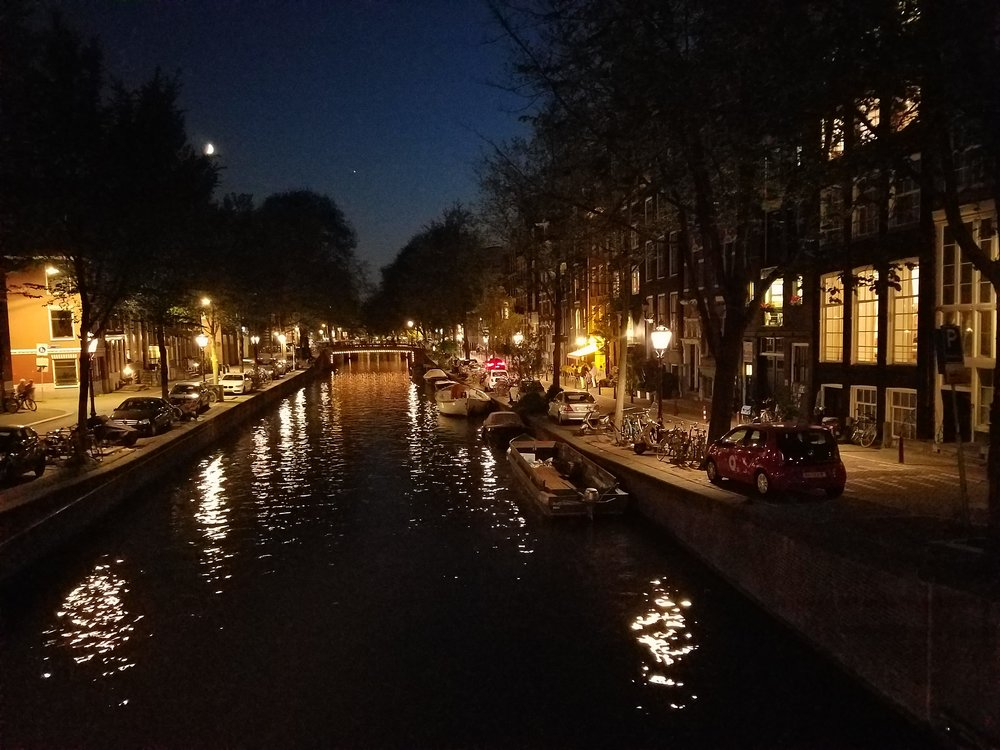 Cafe George (the cluster of lights on the right) in Amsterdam. Photo by my friend Kevin.