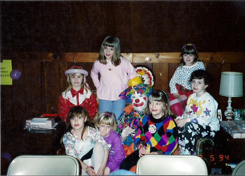 In 1994, Grammie was a clown at my sister Shelley's 7th birthday party. I'm the big sister standing up in pink.