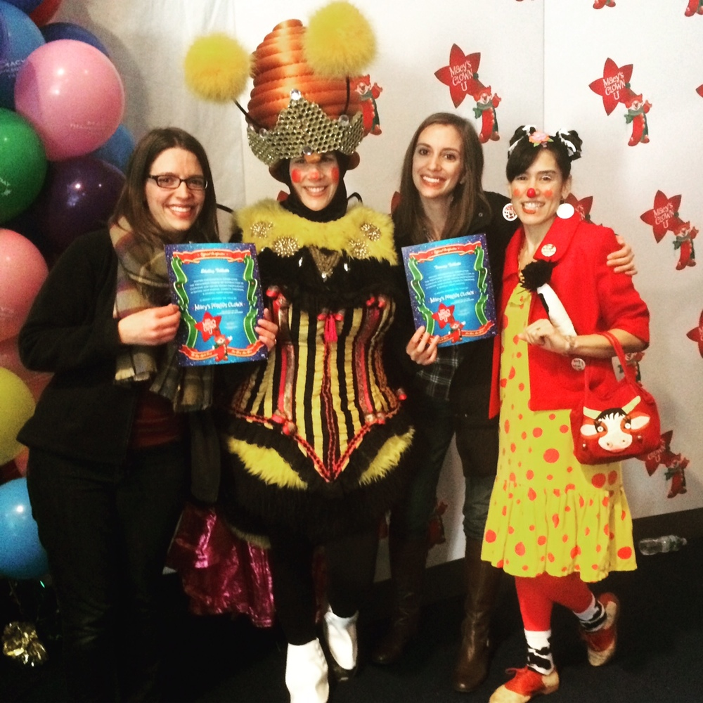 We graduated from Clown U! That's my sister Shelley, Noel (Queen Bee of the Springtime Clowns, who works for Macy's), and Moo Chacha, our Big Apple Circus Clown coach.