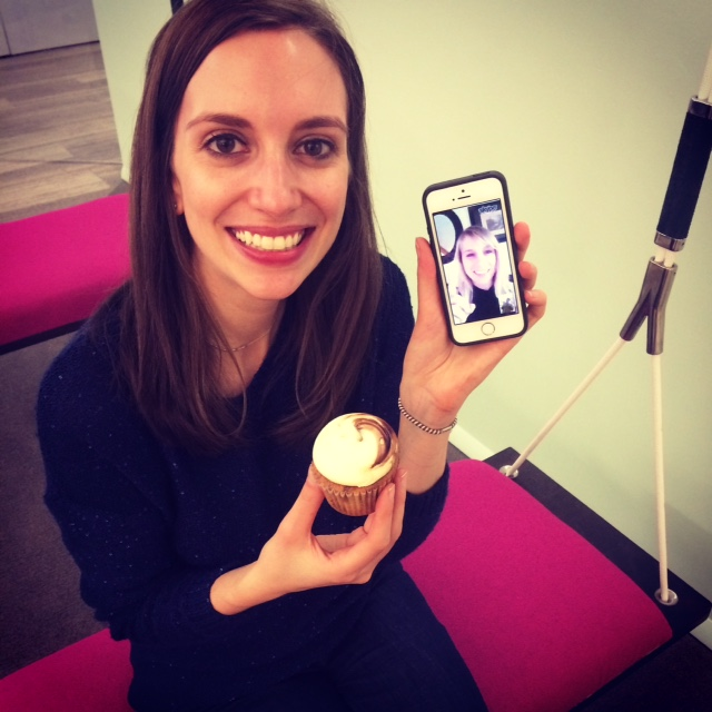 Celebrating with a cupcake and a co-founder (hi Christen Brandt!) in the Birchbox office!