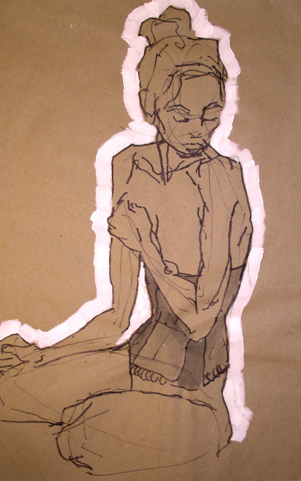 Untitled (figure on brown paper)