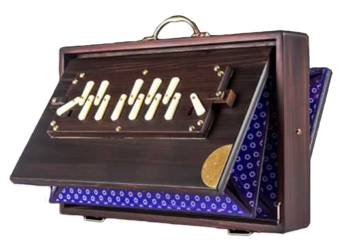 Shruti Box - Originating from India, the shruit box is a simple hand-operated wooden instrumentthat generates a rich drone background that supports singing and musicalexploration. It traditionally works on a system of bellows similar to a harmonium.Because it is hand-pumped, it can produce a slightly pulsating constant chord tosupport rhythm. It's a chromatic instrument with an octave of 13 notes tuned to thewestern classical instrument standards. The use of the shruti box has widened withthe cross-cultural influences of new age and world music.