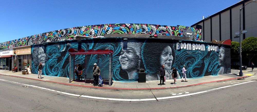 San Francisco ,California  June 2015   Spray Paint,100x20 feet   Commissioned by the San Francisco Arts Commission and  Bombay Sapphire Artisans Series   Collaboration with  Kristine Mays    Curated by   Tyra Fennell