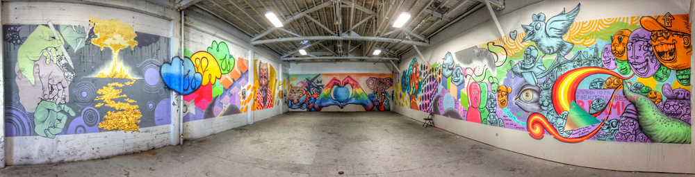 San Francisco , California  February 2015   Latex Paint , 15x200 feet  Exhibit for Imprint City at Laughing Monk Brewery  Collaboration with Michael Covington, Arrington West, Zoe Ciupitu, Izzy Moriyama, Chris Martin, Sad Cloud, Daniel Jones, Chiao Chen, Tyra Fennell & Andrew Casteel