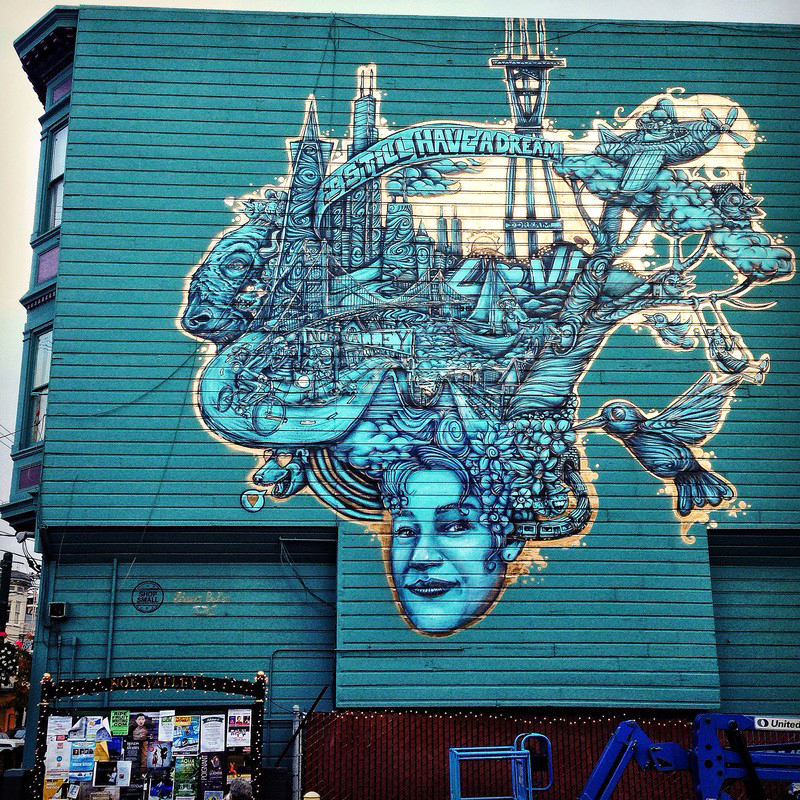 San Francisco , California  November 2014   Spray Paint and Latex Paint ,50x45 feet  Curated by  Tyra Fennell   Funded by Mbooth & American Express, Shop Small Campaign  Published in  Juxtapoz Magazine