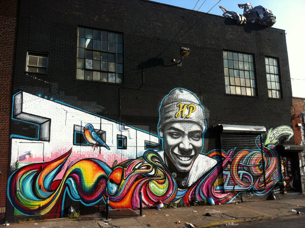 Brooklyn , New York  June, 2011  Spray Paint,30x70 feet  Curated by Amo Studios  Collaboration Craig Budovitch, Simone Bullen, Ana Bezanilla & Alex Larson Walker