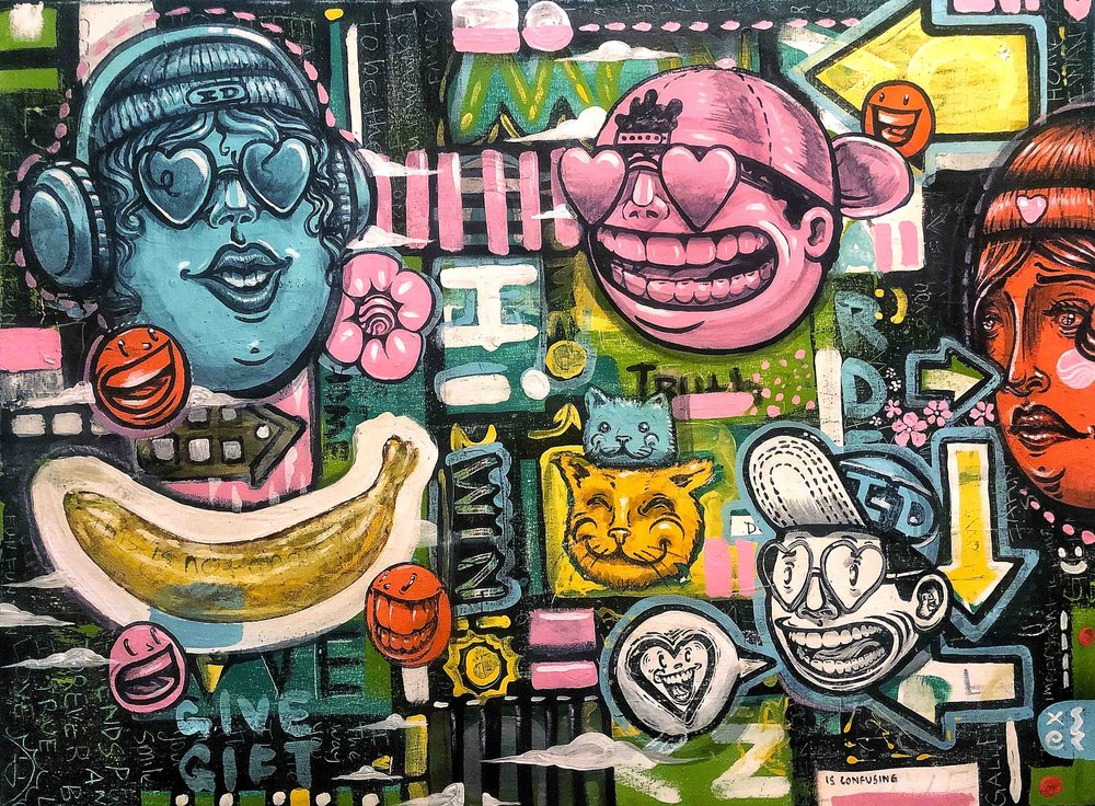 Friends forever is the truth to love  Oil paint & latex paint on canvas  2x3 feet