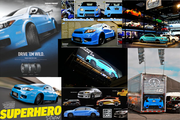 Collage of marketing / promotion featuring the project vehicle