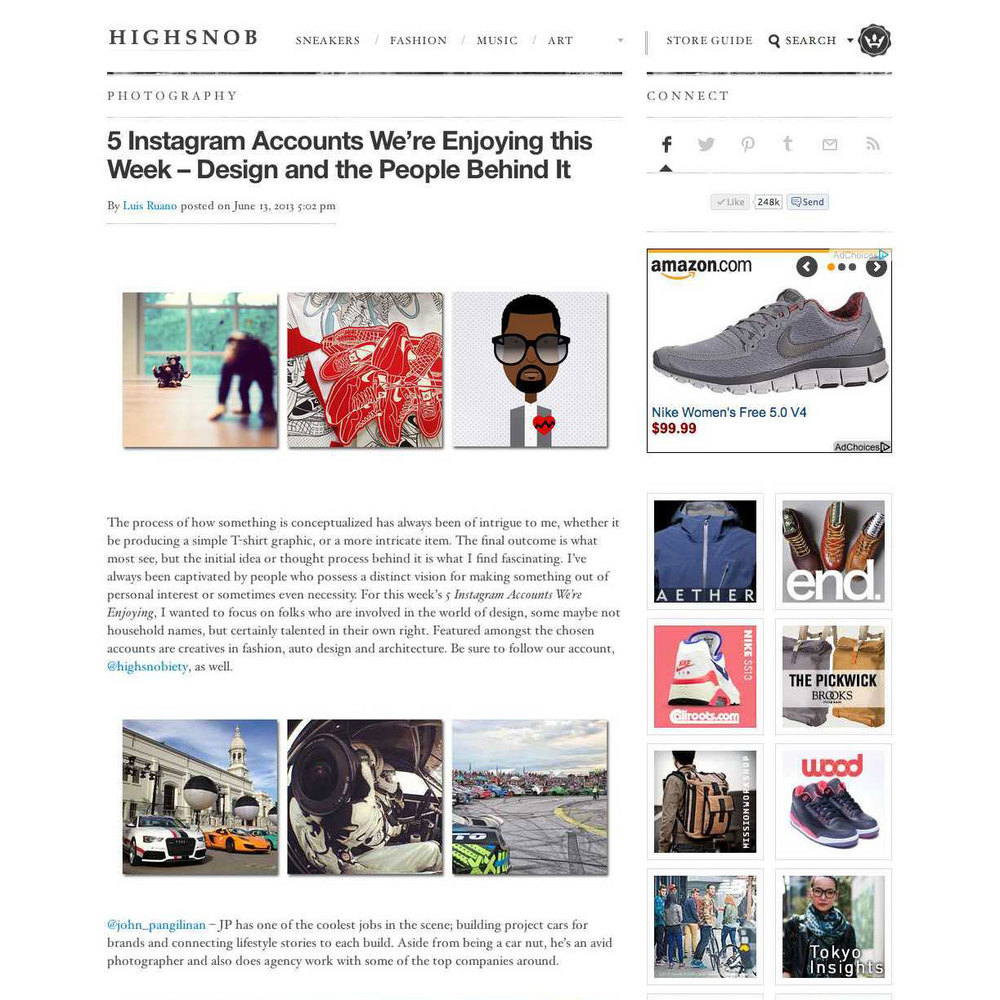 High Snobiety Top 5 Instagram