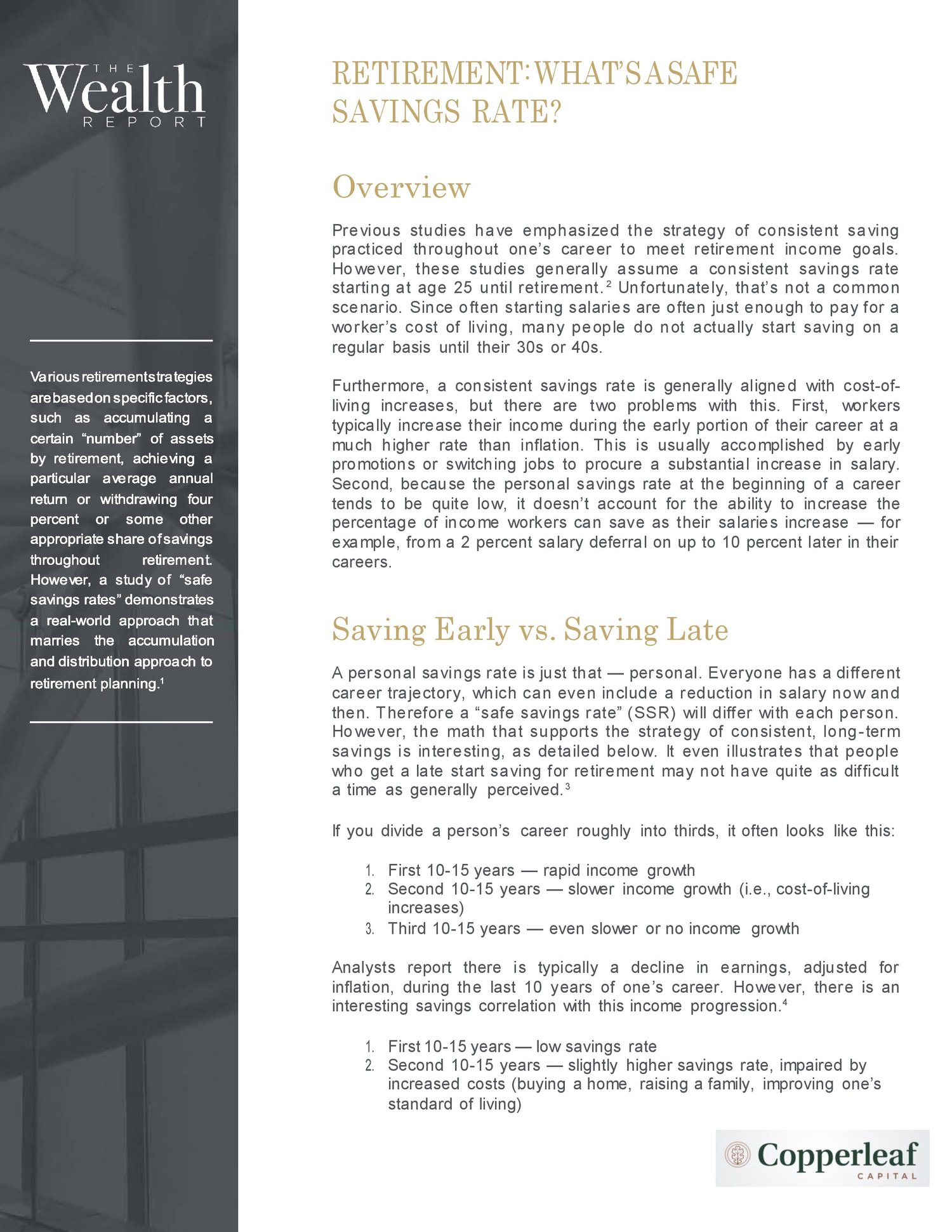 RETIREMENT: WHAT'S A SAFE SAVINGS RATE? — Copperleaf Capital