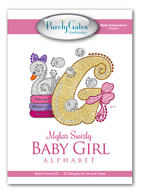 Mylar Swirly Baby Girl Alphabet
