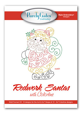 Redwork Santas with Colorline