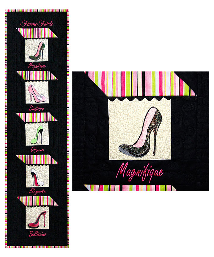 Boutique Banner Pattern - Pattern for quilt featuring Mylar Femme Fatale embroidery design collection from Purely Gates. This pattern will work with most any embroidery design collection. Finished size is 13.5