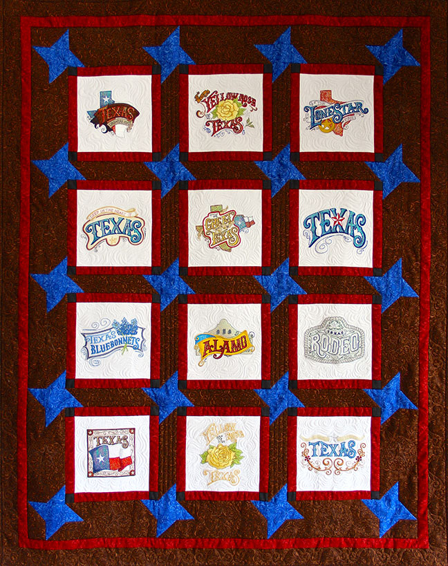 Texas 2 Quilt Pattern - Pattern for quilt featuring Mylar Texas 2 embroidery design collection from Purely Gates. This pattern will work with most any embroidery design collection. Finished size is 48