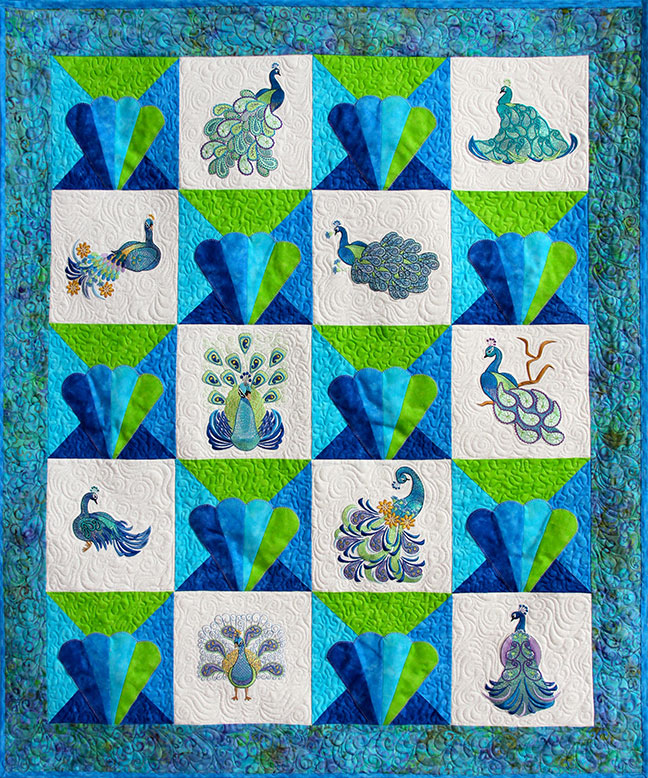 Blue Peacock Quilt Pattern - Pattern for quilt featuring Mylar Paisley Peacocks embroidery design collection from Purely Gates. This pattern will work with most any embroidery design collection. Finished size is 38