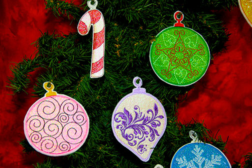 Mylar Christmas Ornaments Project Instructions - PDF Pattern for projects featuring Mylar Christmas Ornaments embroidery design collection from Purely Gates.