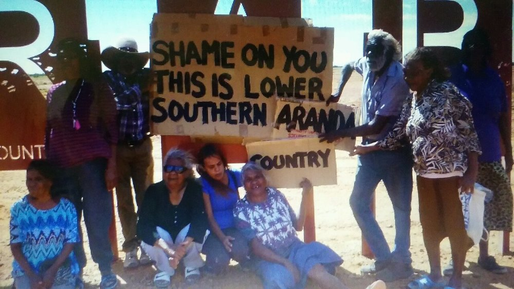 Oodnadatta residents protesting Arabana Native Title sign on their country