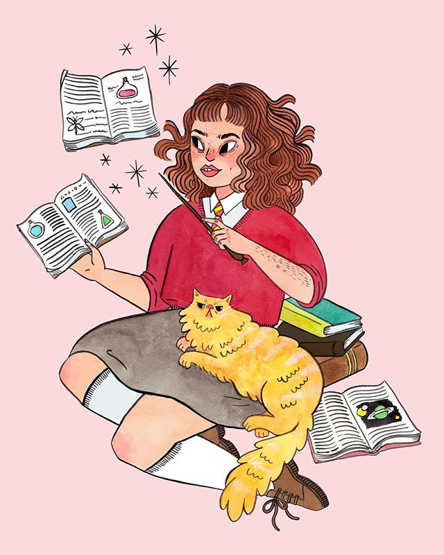 "This drawing is for every girl and woman who has ever been accused of being a bossy know-it-all. Hermione takes so much crap from Ron and Harry for being an overachiever but without her, they wouldn't have even finished their homework let alone survived past book one. I think I'll call this piece ""Hermione Granger and the Emotional Labor"" with the alternate title of ""OH MY GOD COULD LITERALLY NOBODY ELSE BE BOTHERED TO CRACK OPEN 'HOGWARTS: A HISTORY' EVEN ONE TIME IN SEVEN YEARS!?"""