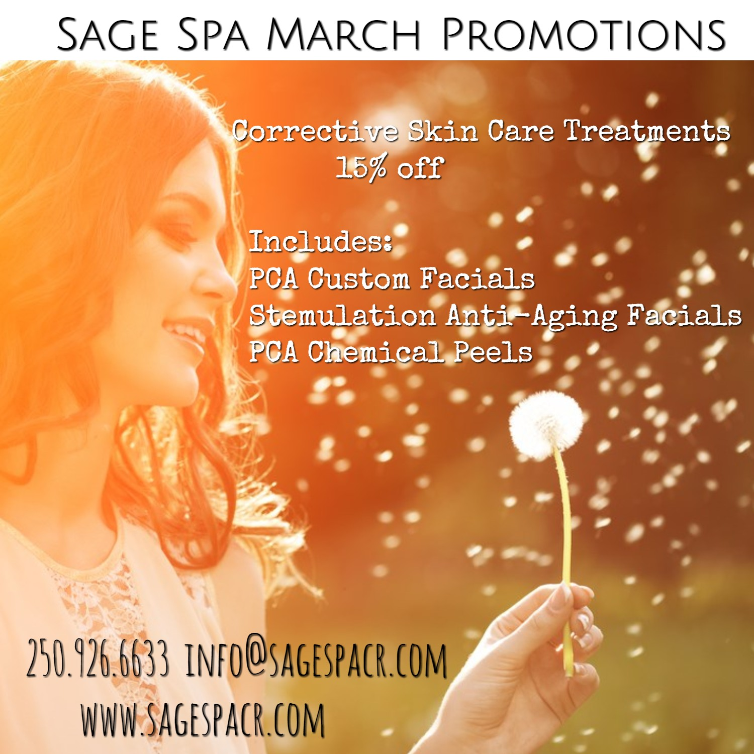 March Corrective Skin Care Facial Promotion Sage Spa Day Spa