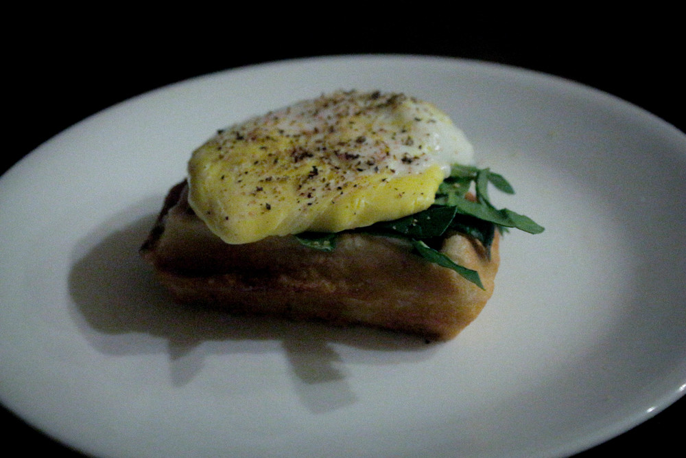 Special quarter waffle: cream cheese, spinach and poached egg on top.
