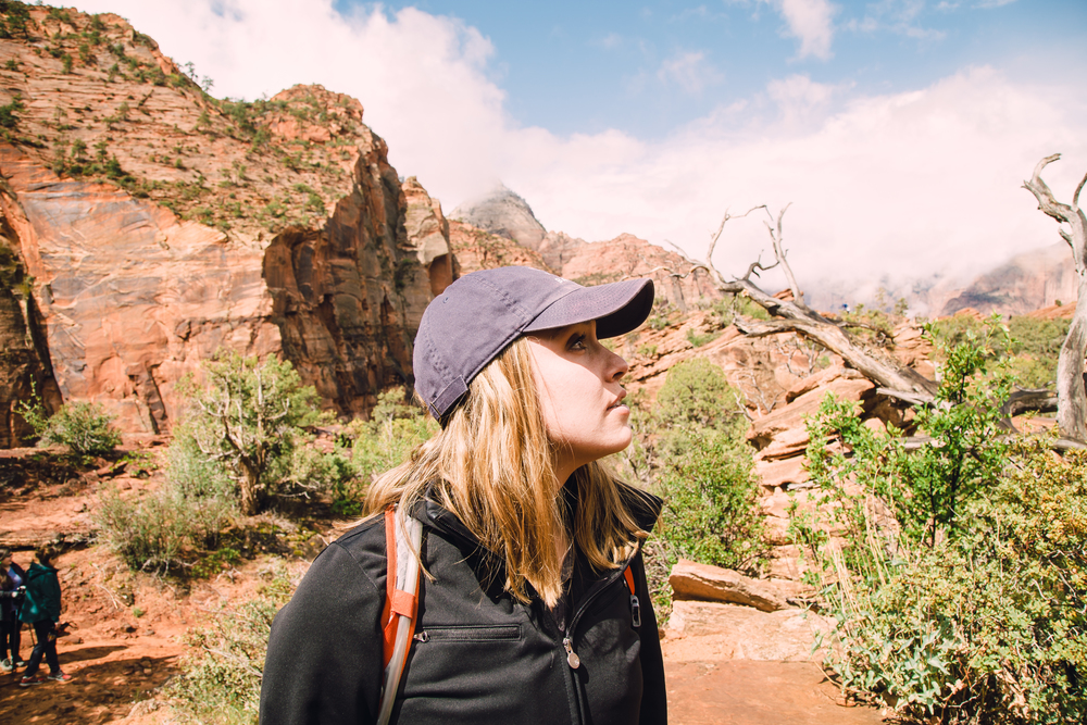 Kylie amazed during our Canyon Overlook Hike Trail at Zion.