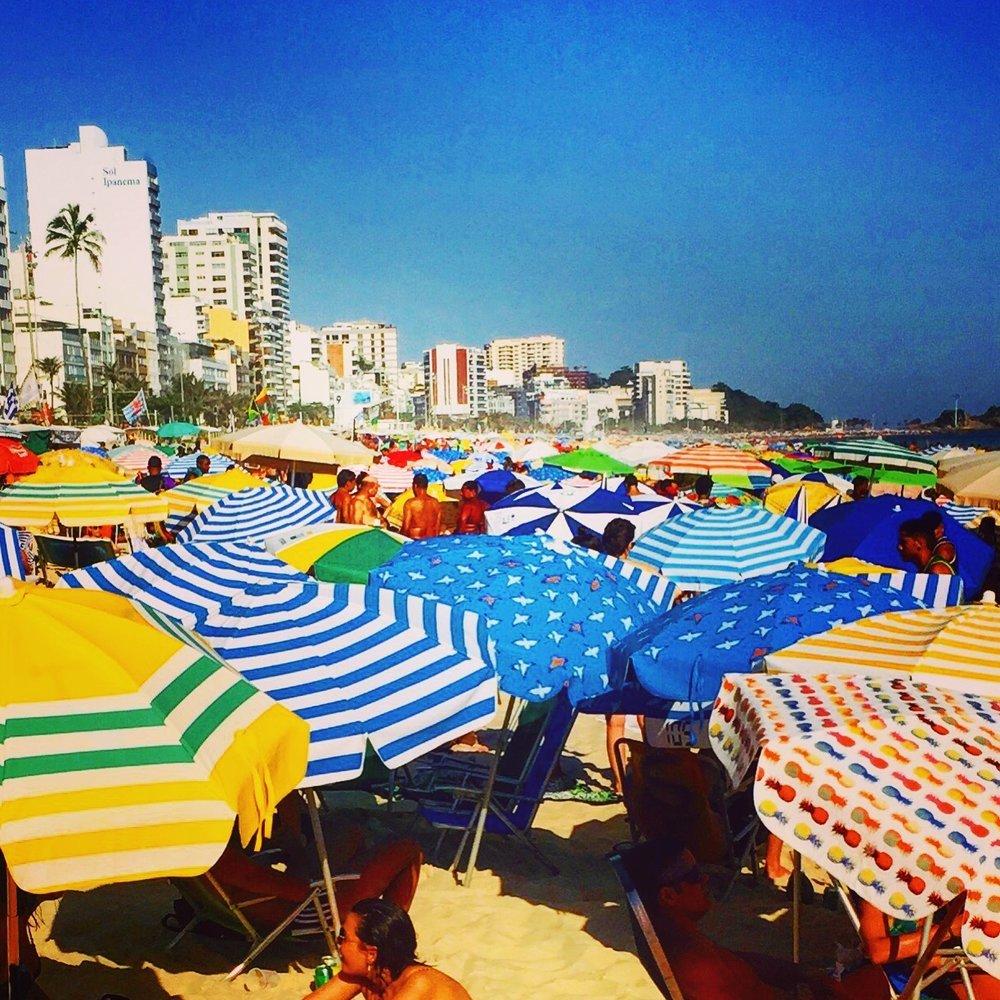 Colorful Array of Beach Umbrellas on Ipanema Beach