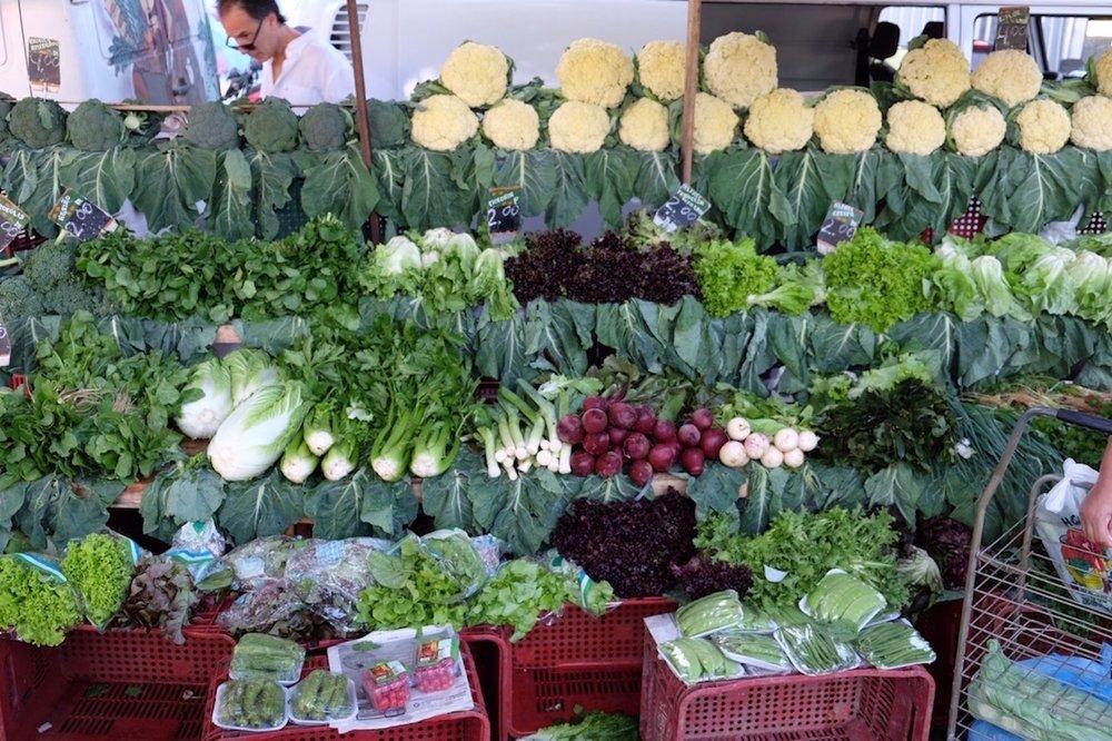 A plethora of Brazilian green vegetables for sale