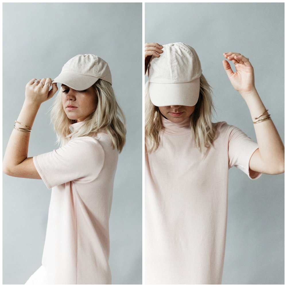 easy to pair with a (blush) hat to give it a sporty relaxed feel.