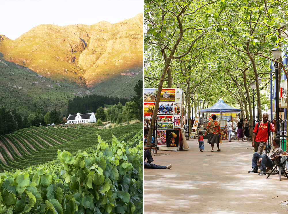 LEFT See picturesque whitewashed Dutch-colonial buildings nestled among the vines in Franschhoek, a must-stop on South Africa's gourmet trail. RIGHT Pick up a memento of your trip at St George's Mall markets in Cape Town. Photograph from Photolibrary.