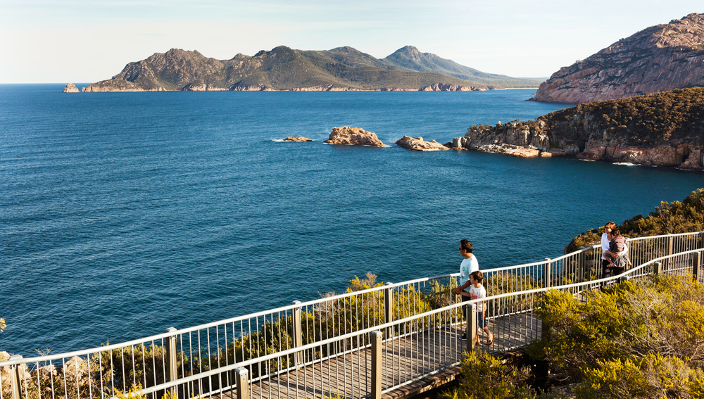 Ten kilometres of steep unsealed roads within the Freycinet National Park lead to the Cape Tourville Lighthouse, from where you can see right across the peninsula. Photography by Sean Fennessy.