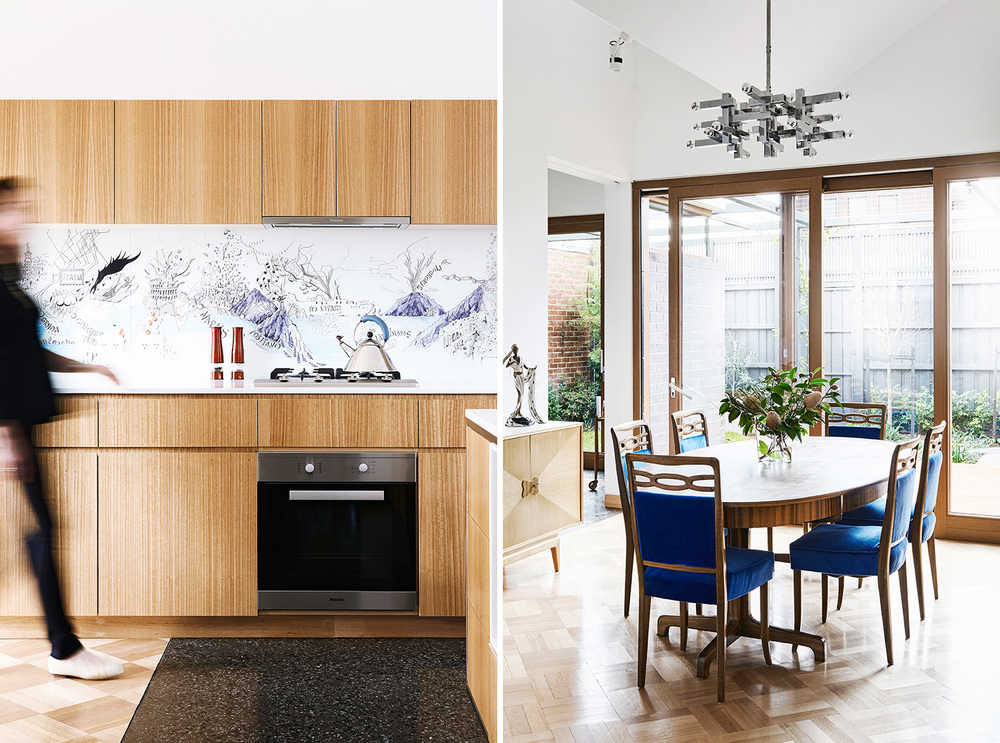 KITCHEN Printed on glass, an Alex Hotchin illustration is transformed into a deeply personal, one-of-a-kind splashback. DINING Steven has loved parquetry floors since he was a teenager; Steffen had Australian beech parquetry laid in the dining area, kitchen and as a 'rug' in the library.