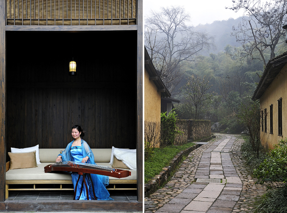 LEFT  A local musician plays at Fayun Place.  RIGHT  Fayun Pathway connects each part of the resort; it begins at the reception area and winds its way through the property, ending at the entrance to Lingyin Si.