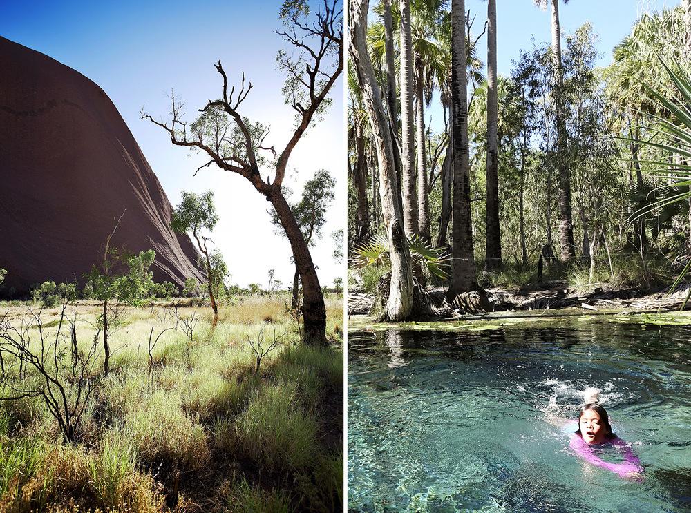 LEFT  The beauty of Uluru.Photograph by Nicholas Watt.  RIGHT  Mila enjoys a dip at Bitter Springs, Mataranka. Photograph by Khaedup Shakya.