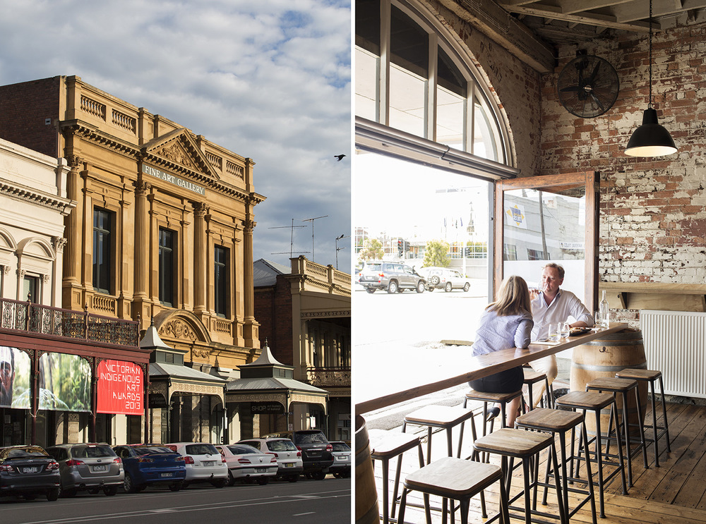 LEFT The Art Gallery of Ballarat on Lydiard Street. RIGHT Mitchell Harris Cellar Door and Wine Bar in Ballarat offers the label's own wines plus other great drops from the region.