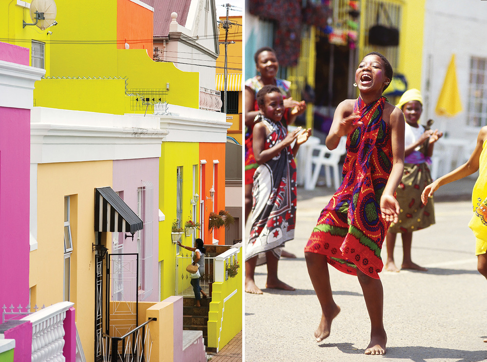 LEFT The colourful Malay district in Cape Town. Photograph from Picture Media. RIGHT Young tribal dancers. Photograph from Photolibrary.